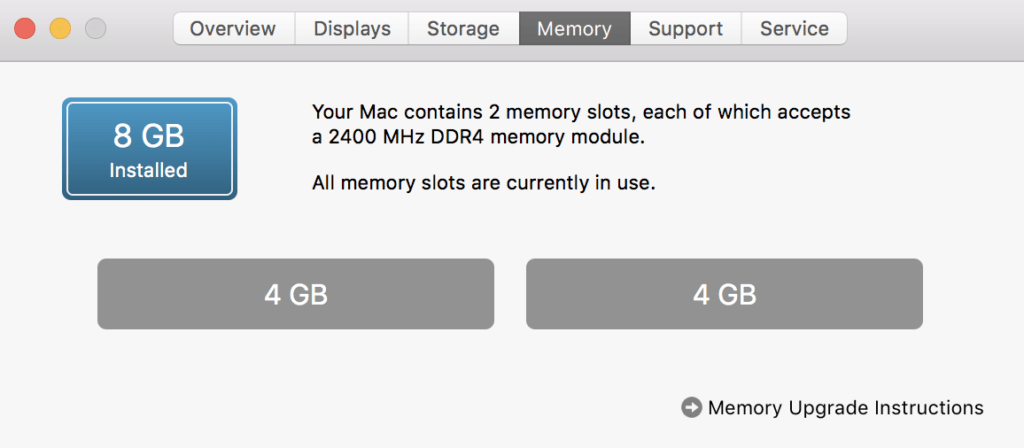 Memory tab for About this Mac